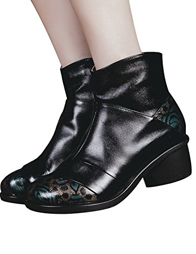 Zoulee Womens Enkellaarsjes Casual Retro Rits Hoge Blok Hak Enkel Lederen Laarzen Style 8 Zwart