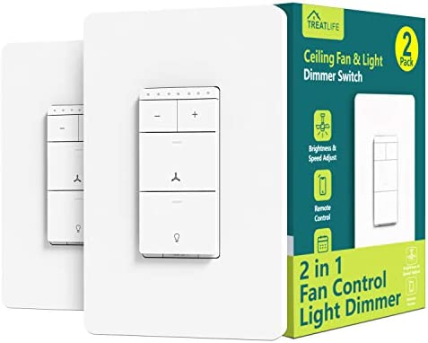 Smart Ceiling Fan Control and Dimmer Light Switch 2PACK, Neutral Wire Needed, Treatlife Single Pole Wi-Fi Light Switch Fan Speed Control, Works with Alexa/Google Assistant, Smart Home Remote Control