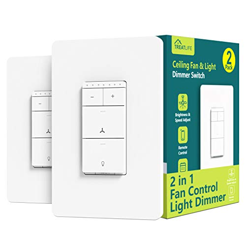 Smart Ceiling Fan Control and Dimmer Light Switch 2PACK, Neutral Wire Needed, Treatlife 2.4Ghz Single Pole Wi-Fi Light…
