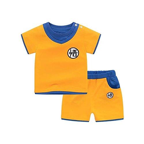 Kids Dragon Ball Goku Costumes Short Sleeve Top + Shorts (S, Orange) -