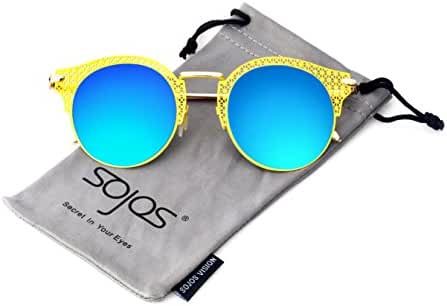 SojoS Cateye Cut Out Hallow Out Frame Round Circle Metal Women¡¯s Sunglasses SJ1021