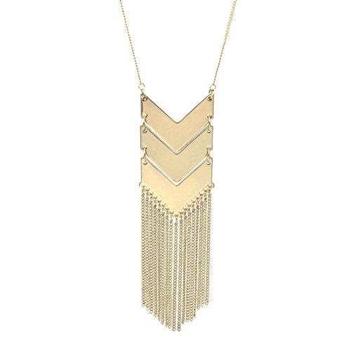 Strand Necklace Tassel (WRISTCHIE Women's Statement Necklace Long Tassels Multi-strands Necklace)