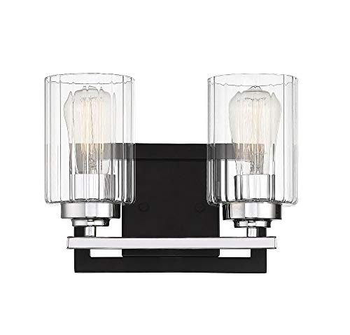 Savoy House Redmond 2-Light Bathroom Vanity Light in Matte Black with Polished Chrome Accents