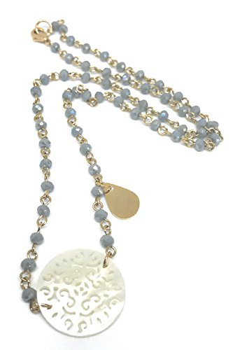 Mandala Mother of Pearl Pendant Beaded Crystal Necklace 17