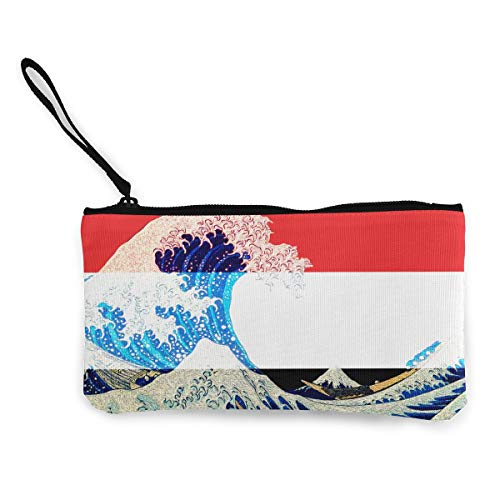 """Coin Purse Yemen Flag And Wave Off Kanagawa Cute Travel Makeup Pencil Pen Case With Handle Cash Canvas Zipper Pouch 4.7""""X8.7"""""""