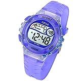 Kids Digital Watch, Girls Boys 50M(5ATM) Waterproof Multi-Functional WristWatches for Children(Light Purple)