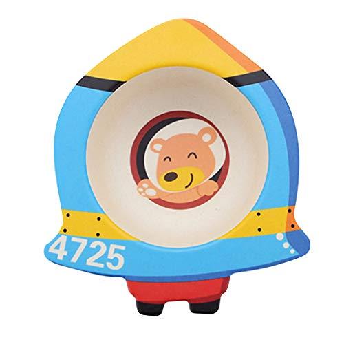 Elevin(TM)  Bamboo Fiber Children's Cartoon Bowl Environmental Protection Baby Cutlery (E)