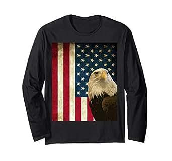 Amazon.com: American Bald Eagle Retro bandera de manga larga ...