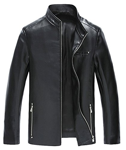 ATHX Men's Casual Zip Front Stand Collar Motorcycle PU Leather Jacket (Medium, Black) - Collar Zip Front Leather Jacket