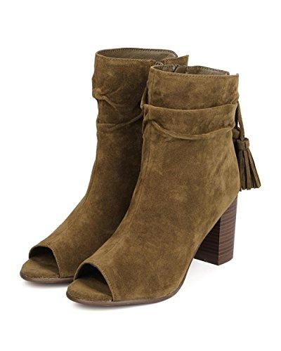 Olive Suede Toe Bootie Tassel Chunky Heel Breckelle's Women GJ78 Peep Faux xUwEqnIvH