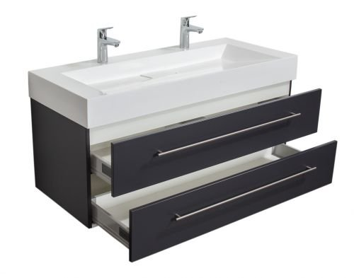 Badmöbel Design 1200 Doppel anthrazit seidenglanz
