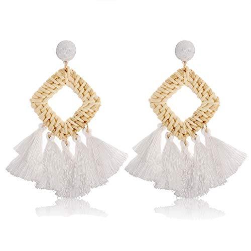 HSWE Statement Drop Earrings for Women Rattan Tassel Earrings Fringe Dangle Earrings - Tassel Large Fringe