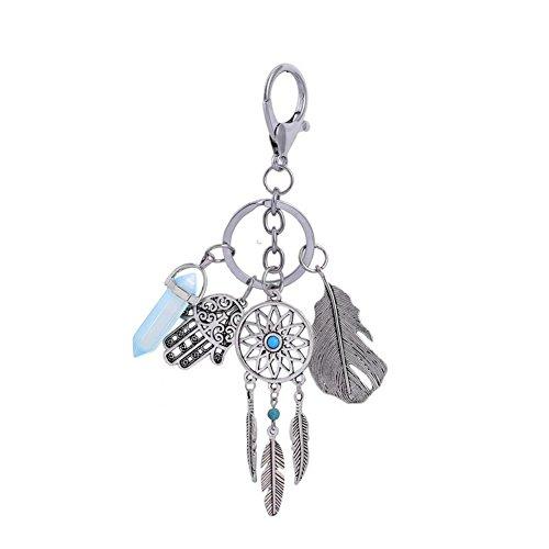 SZTARA Dream Catcher Keyring Bohemian Gemstone Palm Feather Leaf Pendant Keychain Keyfobs Women Decor Jewelry Sky Blue