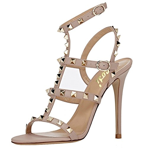 Women's Stilettos Straps Dress Sandals Heels T Toe Nude High Strappy Open Shoes VOCOSI dwIqUYd