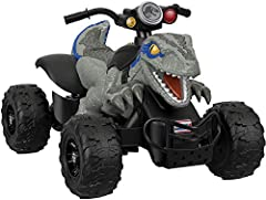The Power Wheels Jurassic World Dino Racer sends young adventure seekers roaring into exciting adventures with Blue the raptor! Young riders can race over hard surfaces, grass, and other rough terrain at a max. speed of 6 mph, with a parent-c...