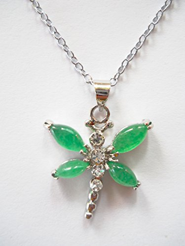 Green jade dragonfly pendant necklace