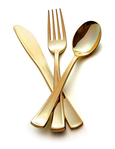 Price comparison product image 240 Pc Premium Gold Plastic Cutlery / Extra Heavy Duty with Bright Shiny Finish / Convenient,  Strong Silverware includes 80 Forks 80 Spoons 80 Knives / Ludere Elegant Disposable Flatware Set