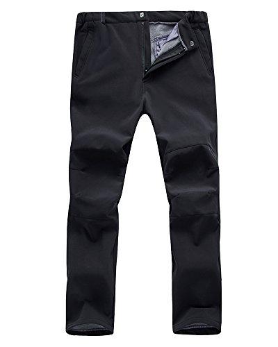 Mens Outdoor Windproof Waterproof Hiking Mountain Ski Pants, Soft Shell Fleece Lined Trousers#NK-801,Black,US M 34