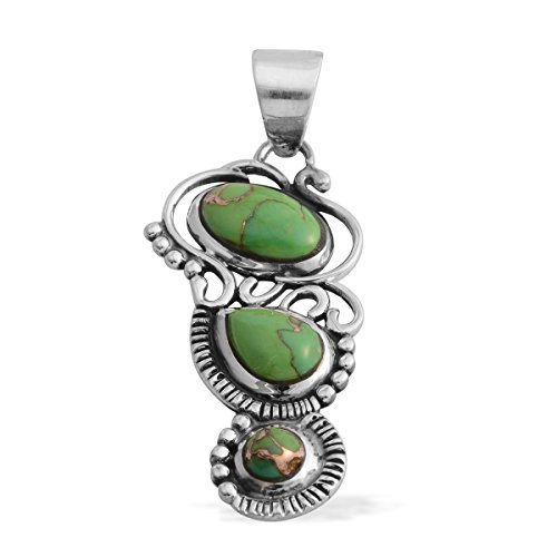 Santa Fe Turquoise Necklace (Santa Fe Style Lab-Created Green Turquoise Sterling Silver Pendant without Chain)