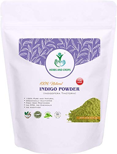 Herbs And Crops 100% Pure Natural Organically Grown Indigo Powder- For HAIR (227g / (1/2 lb) / 8 ounces) by Herbs And Crops