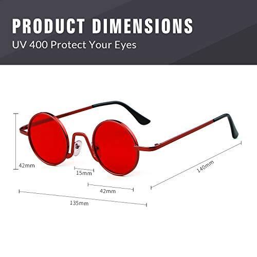 Vintage Lente Street con ovaladas Redondo Hombres Style ADEWU Rojo Eyewear 1 sol Gafas fino Rojo borde de metal Marco de Mujeres Iw8Fqg