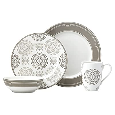 Lenox 4-Piece Neutral Party Medallion Place Setting Dinnerware Set - Crafted of Lenox porcelain Microwave and dishwasher safe Place setting includes dinner plate, accent plate, all purpose bowl, and mug - kitchen-tabletop, kitchen-dining-room, dinnerware-sets - 413AAKD2%2BcL. SS400  -