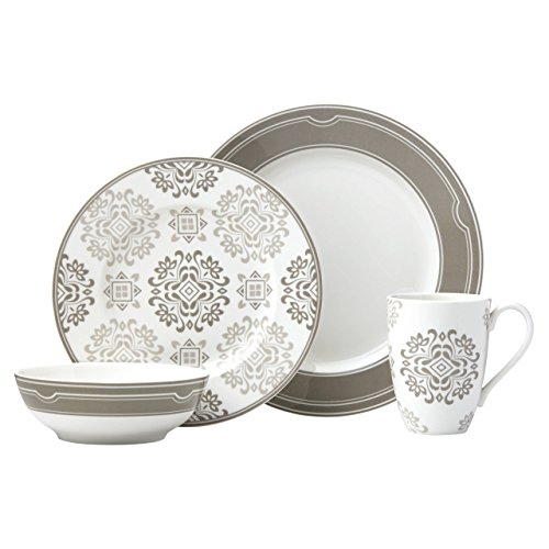Lenox 4-Piece Neutral Party Medallion Place Setting Dinnerware Set