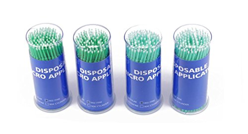 400pcs Green 2mm Disposable Micro Applicators Brushes for Eyelash Extensions (Green Eyelashes)