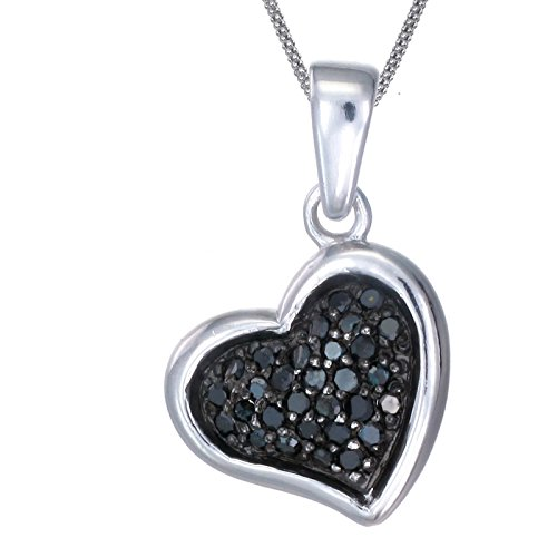 Silver Black Diamond Heart Pendant (1/5 CT) With 18 Inch Chain