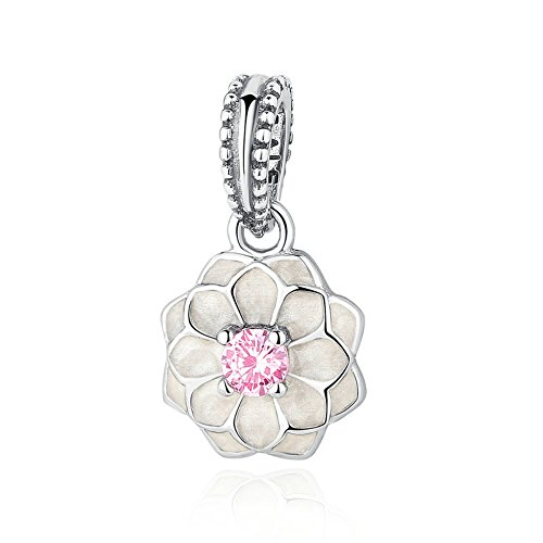 Dangling White Porcelain Lotus Flower With Pink Cubic Zirconia Charm Memories Birthday Anniversary Motherday Child Girl Valentine Love Floral Flowers Dangling Flower Charm