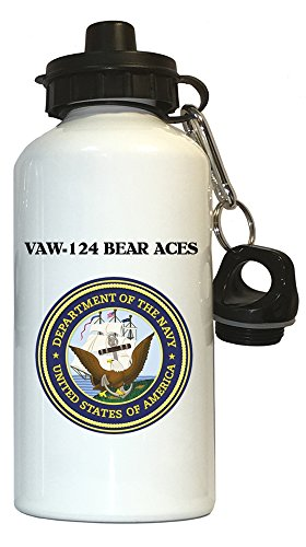 (VAW-124 Bear Aces - US Navy Water Bottle White, 1025)