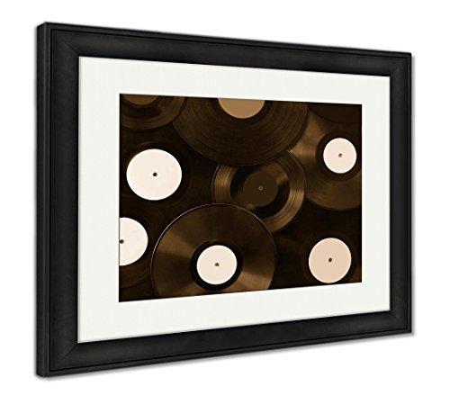 Ashley Framed Prints Many Vinyl Disks Musical Abstract, Wall Art Home Decoration, Sepia, 26x30 (Frame Size), Black Frame, -