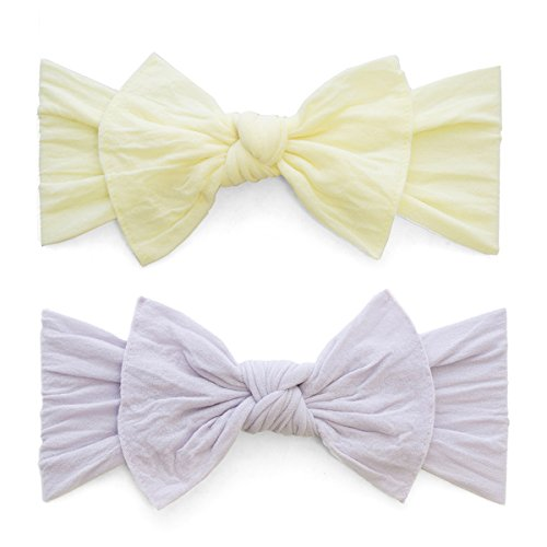 Baby Bling 2 Pack: Classic Knots Girls Baby Headbands - Daffodil/Light (Baby Daffodil)