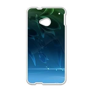 Blue unique flowers Phone Case for HTC One M7 wangjiang maoyi