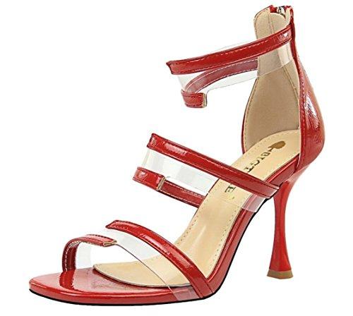 Sandals Talon Mode Red Creux 9 Orteil Féminine Haut 5cm Transparent afxwgHx7qZ
