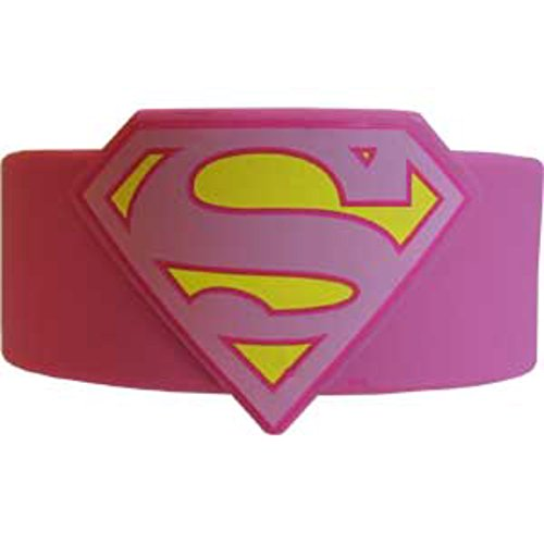 Officially Licensed DC Comics Pink Supergirl Rubber Wristband (Officially Licensed Wristbands)