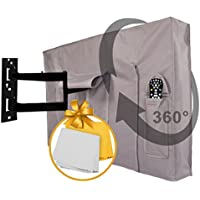 Outdoor TV Covers 52 - 55 - WITH BOTTOM COVER - The BEST Quality Weatherproof and Dust-proof Material with FREE Microfiber Cloth. Protect Your TV Now!