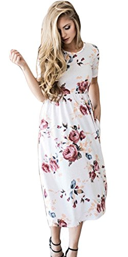 VOKY  White PrintDress Round Neck Boho Plus Size Long Maxi Dress for Beach Party