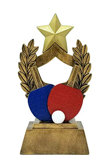 Decade Awards Ping Pong Trophy | Colored Paddles Table Tennis Award | 6.5 Inch Tall - Free Engraved Plate on - Pingpong Server