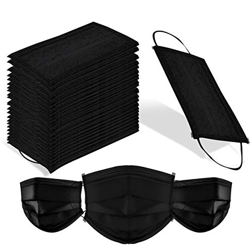 100 Pack Surgical Disposable Face Masks with Elastic Ear Loop, 3 Ply Breathable and Comfortable for Blocking Dust Air Pollution Flu Protection (Black) (Best Black Face Mask)