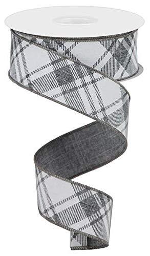 (Diagonal Stripe/Check Wired Edge Ribbon - 10 Yards (Grey, White, 1.5