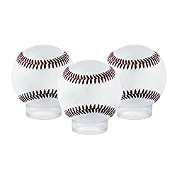 Houseables Sphere Display, Ball Holder Stand, 12 Pack, Clear, 1.6 D x ½ H, 1 5/8, Acrylic, Balls Case, For Baseballs, Tennis, Softballs And Marble Eggs, Round Pedestal Rack, Beveled Ring