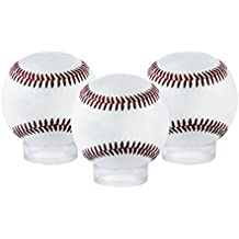 "Houseables Baseball Holder, Sphere Display, Ball Stand, 12 Pack, Clear, 1.6"" D x ½"" H, 1 5/8"", Acrylic, Balls Case, For Tennis, Softballs And Marble Eggs, Round Pedestal Rack, Beveled Ring"