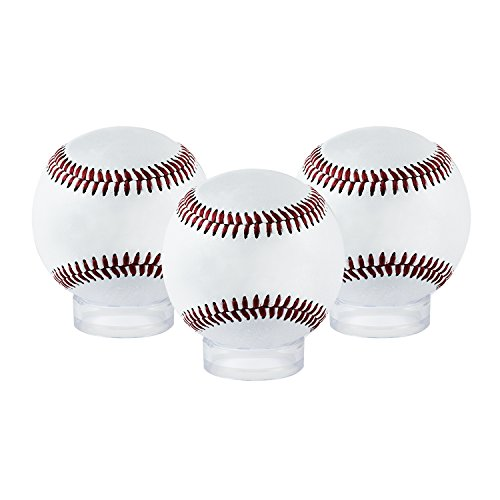 "Houseables Ball Display, Beveled Ring Stand, 12 Pack, Clear, 1.6"" D x ½"" H, 1 5/8"", Acrylic, Balls Case, Holder For Baseballs, Tennis, Softballs And Marble Eggs, Round Sphere Pedestal Rack"