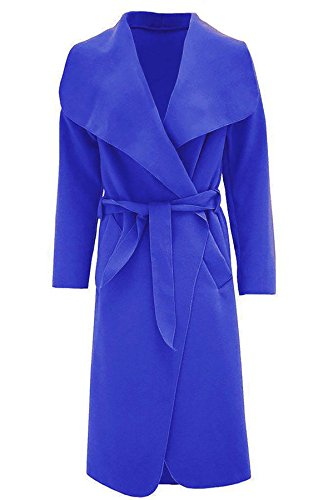 Une Fashions Long Blue Italien Islander Veste Manches Dames Taille Cascade Trench Franais Belted Manteau Duster Royal Femmes Longues 6twWBWdqHn