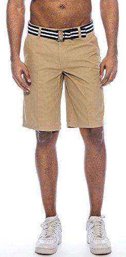 Khaki Walking Shorts - TR Fashion Men's Bahamas Belted Walking Shorts (Khaki, 36)