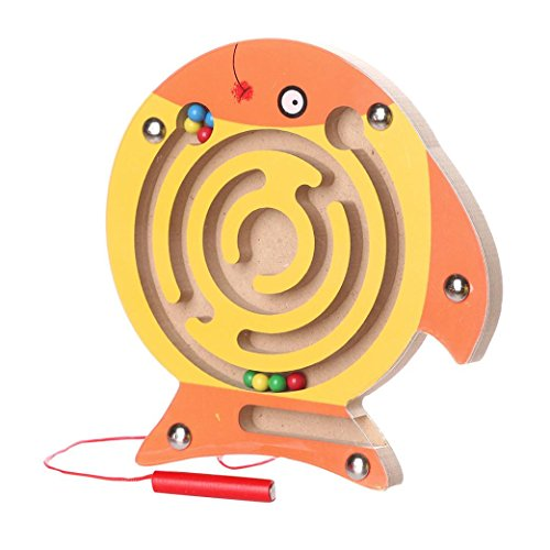 Sunfei Kids Magnetic Maze Toys | Kids Wooden Game Toy | Wooden Intellectual Jigsaw Board (Fish) (Wooden Big Jigsaw Fish)