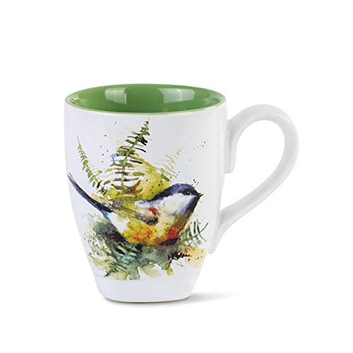 Dean Crouser Spring Chickadee Watercolor Green 12 ounce Glossy Ceramic Stoneware -