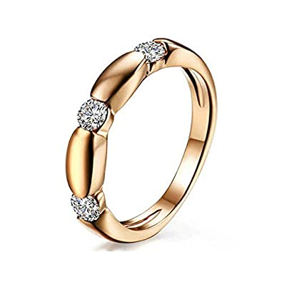 Yoursfs Dainty Wedding Rings for Women 3 Austrian Crystal Band Ring for Her 18ct Rose Gold Plated Fashion Jewellery wiaJd