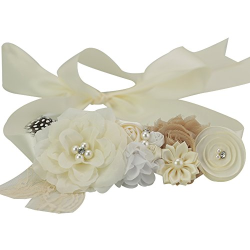 (Lovemyangel Bridal Sash Belt Bride Maternity Satin Flower Ribbon Sash Baby Girls Dress Accessories for Wedding Decoration)
